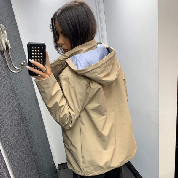 Beige Hooded Rain Jacket
