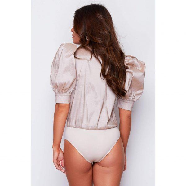 Nude Puff Shoulder Bodysuit