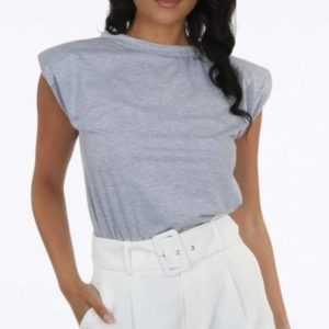 Grey Shoulder Pad T-Shirt
