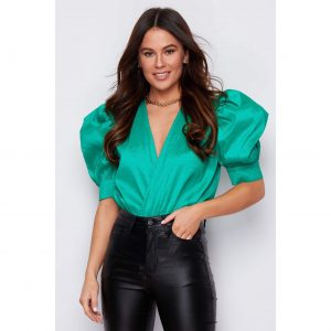Green Puff Shoulder Bodysuit