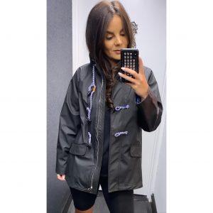 Black Hooded Rain Jacket