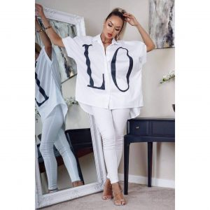 White LOVE oversized shirt