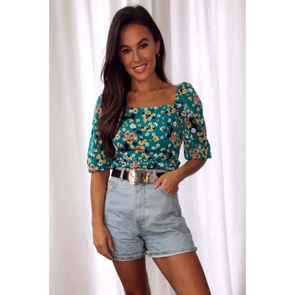 Green Floral Puff Shoulder Top