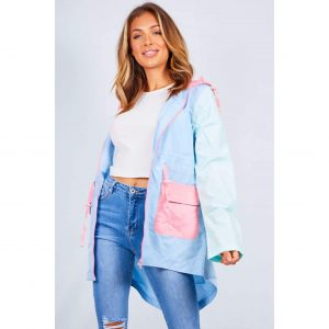 Blue Colourblock Light Hooded Raincoat