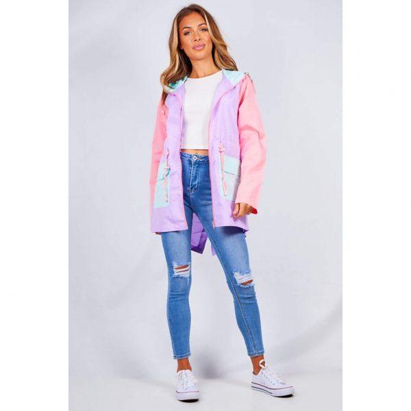 Lilac Colourblock Light Hooded Raincoat