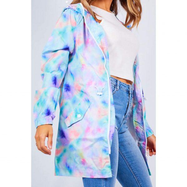 Tie Dye Light Hooded Raincoat