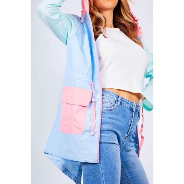 Blue Colourblock Light Hooded Raincoat
