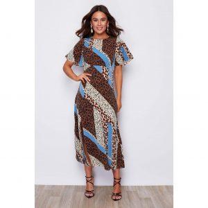 Leopard Patchwork Midi Dress