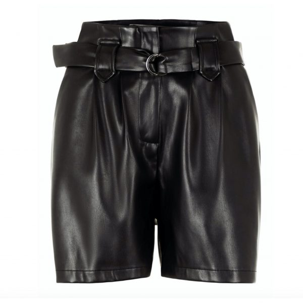 Leather Look Paperbag Waist City Shorts