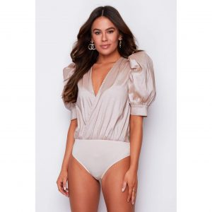 Nude Puff Shoulder Bodysuit