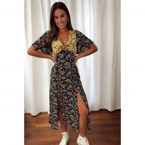 Black & Yellow Floral Mix Print Midi Dress