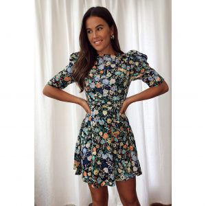 Black Floral Skater Dress Frill Shoulders