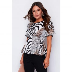 Animal Print Mix Peplum Top