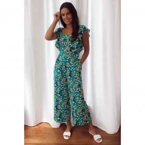 Green Floral Frill Culotte Jumpsuit