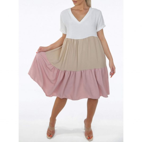 White, Beige and Pink Colourblock Dress