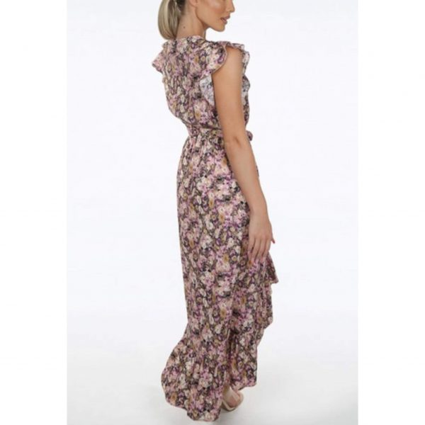 Rose Floral Midi Belted Dress