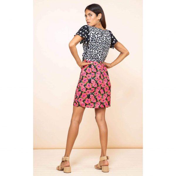 Dancing Leopard Mambo Mini Dress Hibiscus Print
