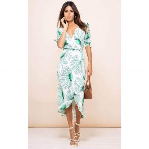 Dancing Leopard Olivera Dress in Green Echinacea