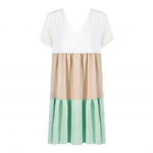 White, Beige and Mint Green Colourblock Dress