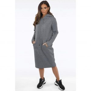 Grey Midi Hoody Dress