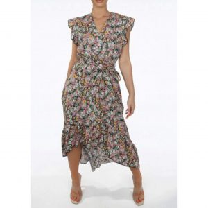 Taupe Floral Midi Belted Dress