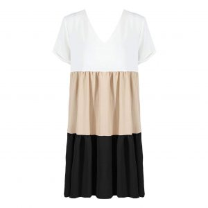 White, Beige and Black Colourblock Dress