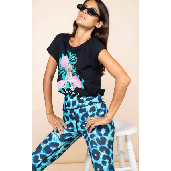Dancing Leopard Izumi Leggings Turquoise Leopard