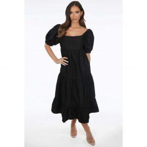 Black Off the Shoulder Smock Dress
