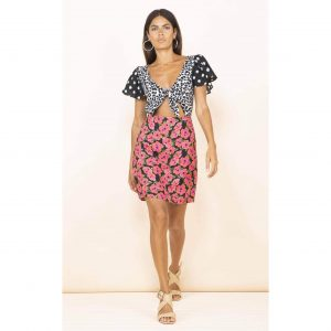 Dancing Leopard Mambo Mini Dress Hibiscus Print
