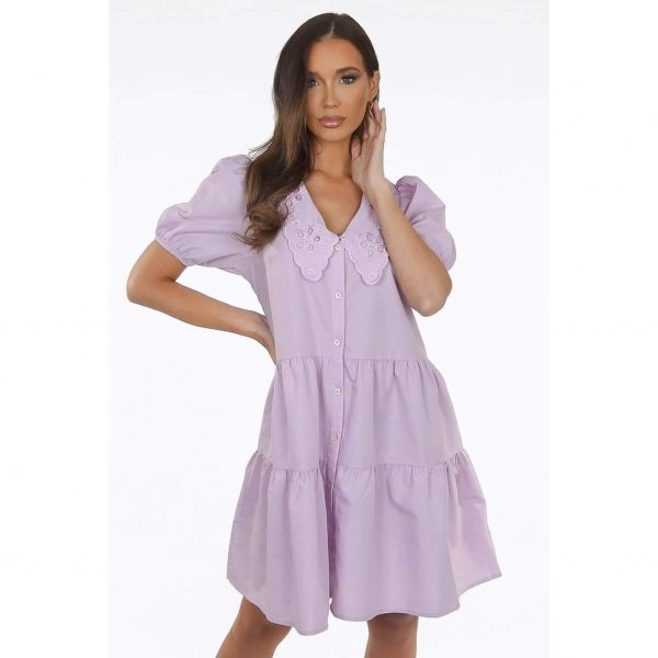 Lilac Peter Pan Collar Smock Dress