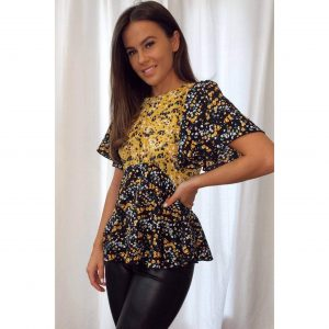 Black & Yellow Floral Peplum Top