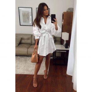 White Puff Shoulder Belted Shirt Dress