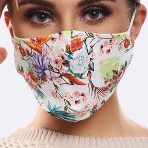 White Floral Print Mask