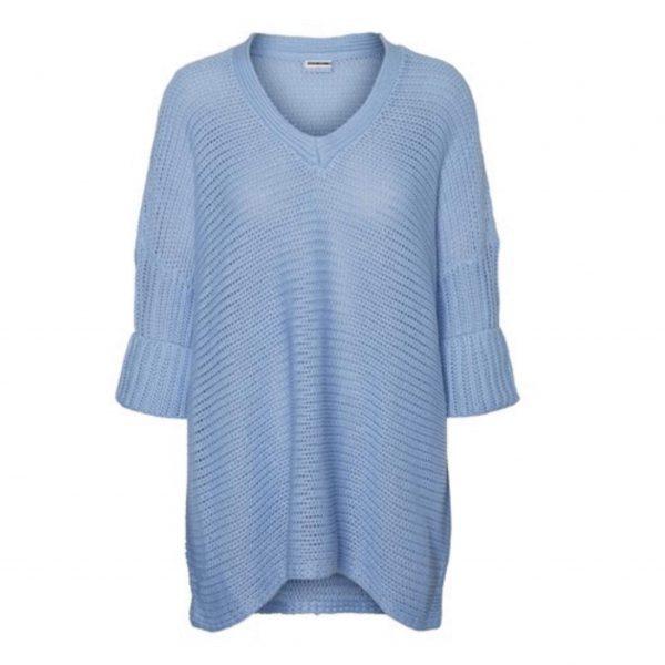Sky Blue Oversized V Neck Knit Jumper