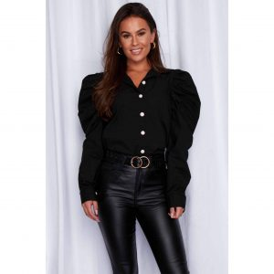 Black Puff Shoulder Blouse