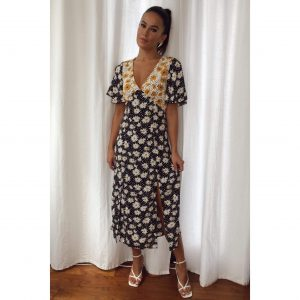 Daisy Mix Print Midi Dress