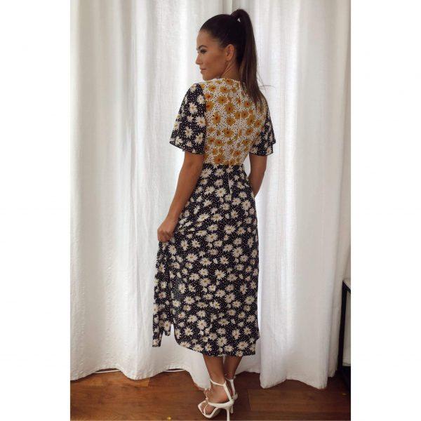 Daisy Mix Print Midi Dress