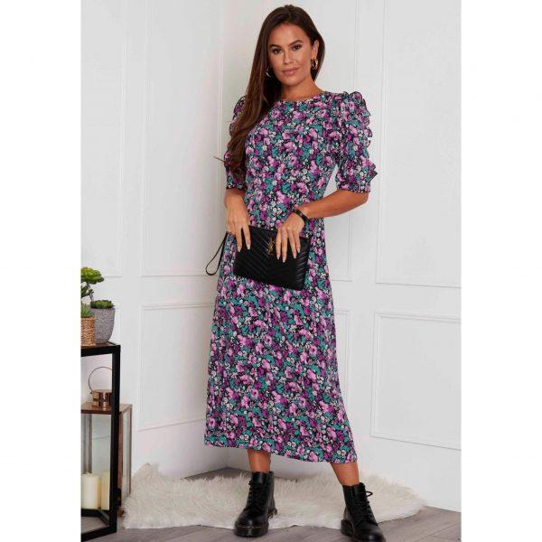 Purple Floral Frill Sleeve Midi dress