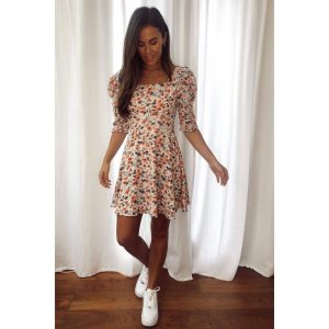 Peach Floral Square Neck Skater Dress