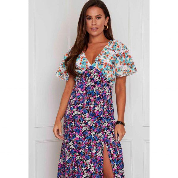 Lilac and White Mix Print Midi Dress