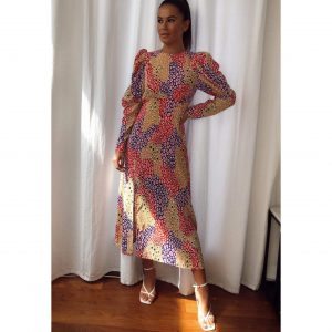 Multi Colour Leopard Midi with Puff Shoulders