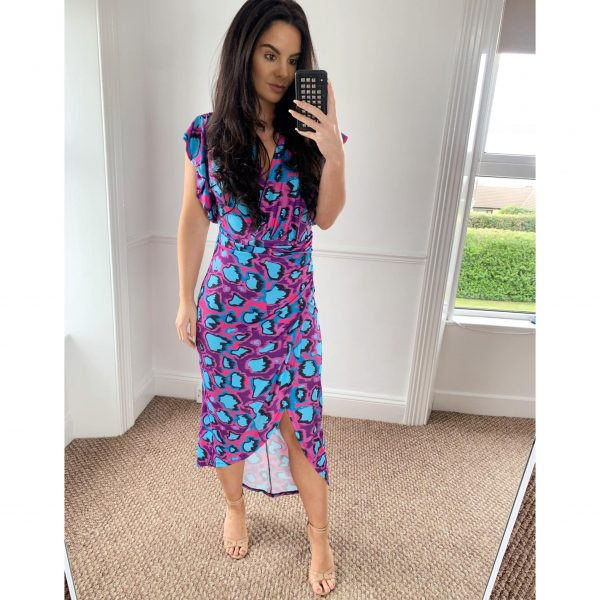 Purple and Turquoise Animal Print Midi with Frill Sleeves