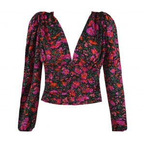 Black Floral Ruched Top