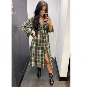 Khaki Check Maxi Shirt Dress