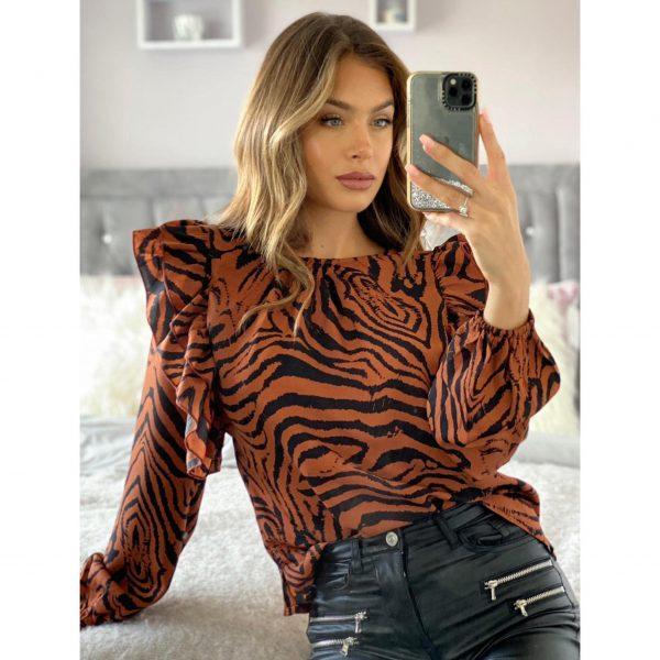 Tiger Print Frill Shoulder Blouse