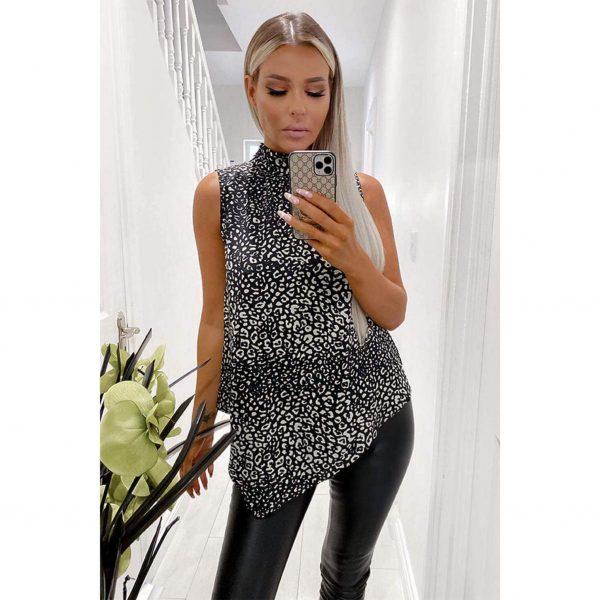 Black Leopard Halter Neck Top