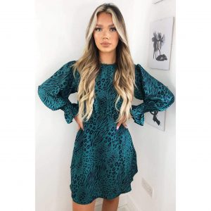Teal Leopard Elastic Waist Dress