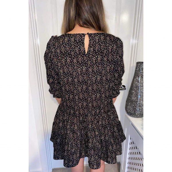 Black Ditsy Floral Smock Dress