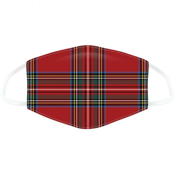 Red Tartan Print Double Layered Mask