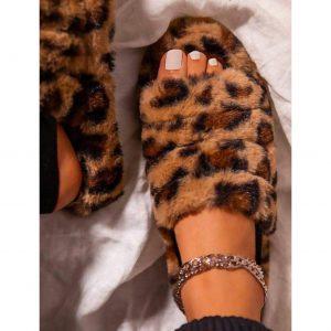 Leopard Faux Fur Slippers